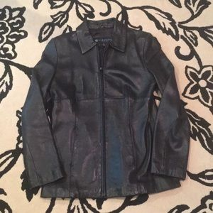 Reaction by Kenneth Cole black leather jac…